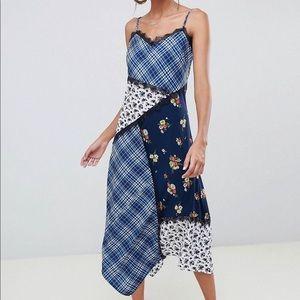 ASOS multi-patterened midi dress w/ lace trimming